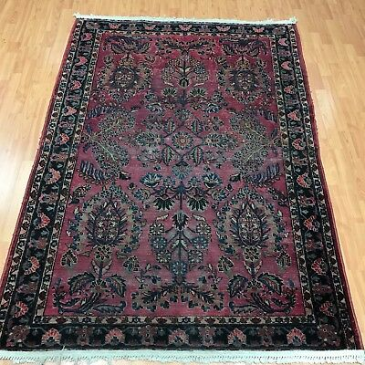 5' x 7' Antique Persian Sarouk Oriental Rug - 1920s - Hand Made - 100% Wool