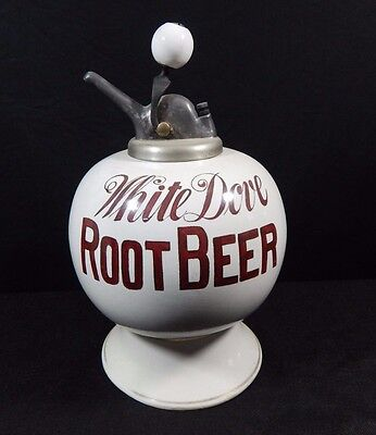 White Dove Root Beer Syrup Dispenser & Old Ball Pump Antique Very Rare Vintage