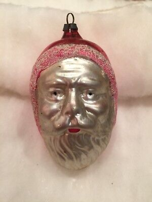 Antique German Figural Blown Glass Large Santa Head Face Ornament