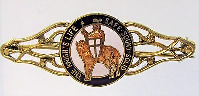 1920's THE KNIGHTS LIFE SAFE SOUND SOLID Insurance enamel brooch pin pinback +