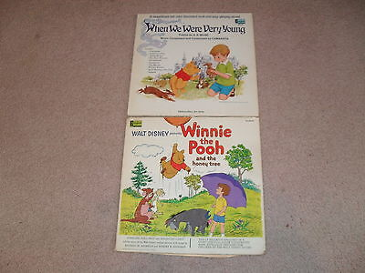 Lot Of 2 Vintage Disney 33 1/3 RPM Record Read Along Book Winnie The Pooh