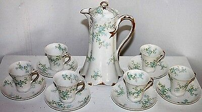 Antique Haviland Limoges 13 Pc. Gilt Chocolate Set W/ Rare Ribbon Design Handles