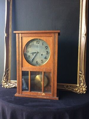 Antique German Junghans Clock 1920's Art Deco Styling 4 Hammers chimes with key