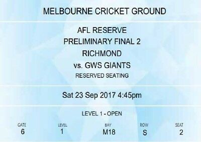 Richmond Vs GWS Preliminary Final X 2 Tickets. LEVEL 1 On The WING!