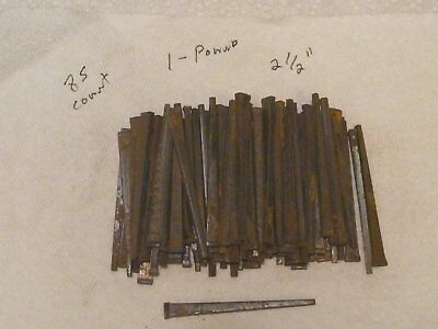 "LOT OF 85 2 1/2"" VINTAGE SQUARE CUT STEEL NAILS 1 pound Old NOS"
