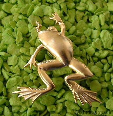 New Jonette Signed JJ Signed Gold Leaping Frog Bullfrog Froggie Frog Pin Brooch