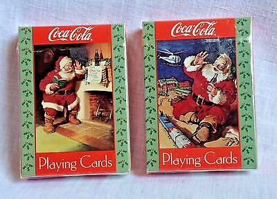 Coca Cola Playing Cards 2 Decks Classic Santa Clause Christmas Scenes New Sealed