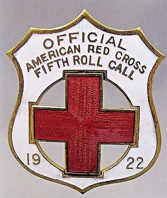1922 OFFICIAL AMERICAN RED CROSS 5th ROLL CALL Enamel Inlaid pinback badge +