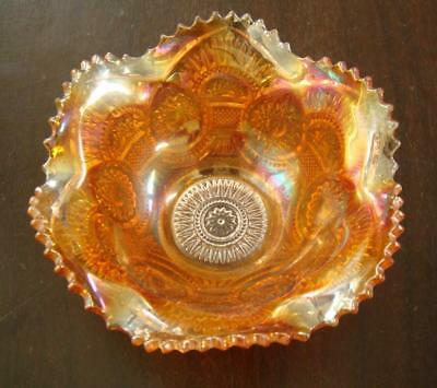 Vintage glassware small bowl , could be carnival? Orange