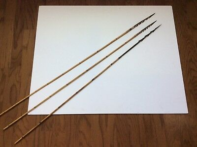 Group Of Three Old Antique Oceanic Carved Painted Tribal Arrows No Spear Sword