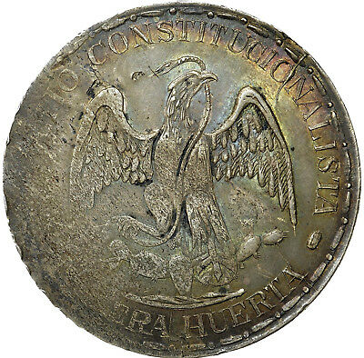 Peso 1914 Cuencame Durango Muera Huerta NGC XF40 from Eric. P Newman Collection
