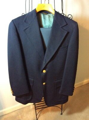 Vintage Polyester Tacky Blue Suit LEVI'S Pants 34x3 Jacket 36R Gold Buttons