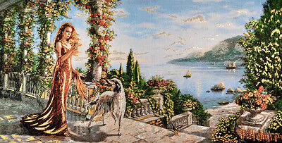 """Mediterranean Royal Lady & Court Seascape 46""""cotton Needlepoint Woven Tapestry="""
