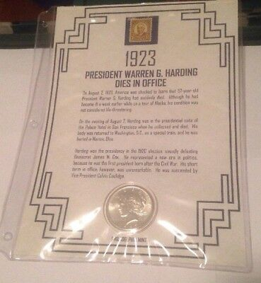 First Commemorative Mint 1923 Peace Silver Dollar And Stamp