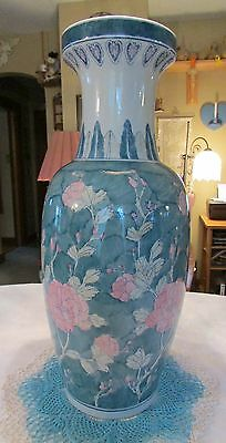 """Beautiful Hand Painted Floor Vase 24.75"""" With Pink Flowers Made In China"""