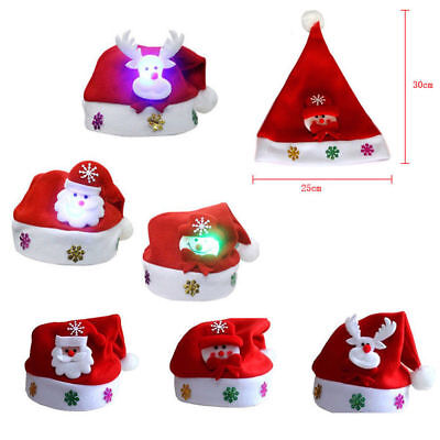Children LED Santa Claus Cap Elk Christmas Hat Xmas Party Decoration Kids Gift