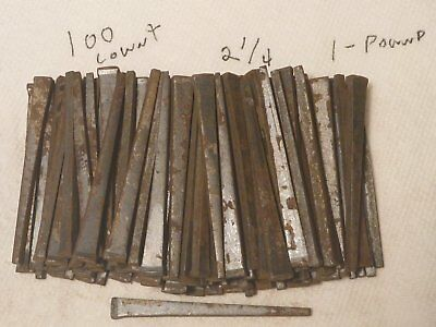 "LOT OF 100 2 1/4"" VINTAGE SQUARE CUT STEEL NAILS 1 pound Old NOS"