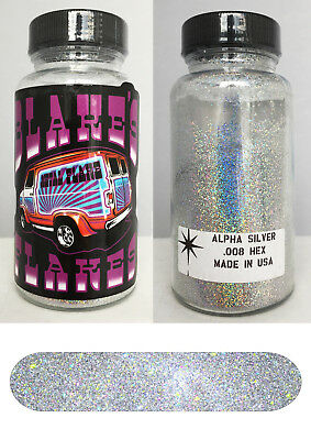 Blakes Metal Flake .008 Alpha Silver prismatic Hot Rod custom automotive 2oz jar
