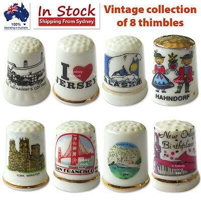 Vintage collection of 8 thimbles Lot #2