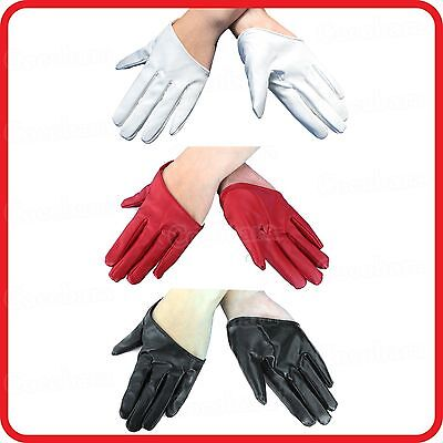 Sexy Women Five 5-Finger Half Palm Cut Scoop Gloves-Pu Leather-Party-Dress Up