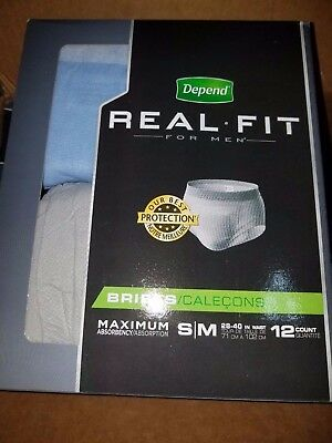 48 pk Depend Real Fit for Men Briefs Maximum Absorbency - Sm/Med S/M - FREE SHIP