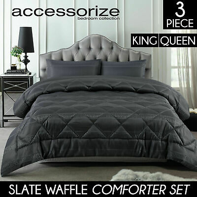3PC Queen / King SLATE Comforter Set Quilted Grey Diamond WAFFLE Bed Jacquard