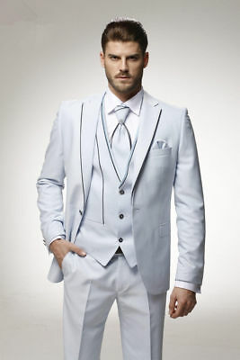 Custom Made White Men's Wedding Suits Groom Tuxedos Prom Party Business Blazers