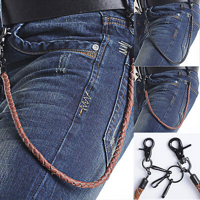 Stylish PU Leather Punk Biker Keychain Key Jeans Wallet Belt Chain Hip-hop Dance