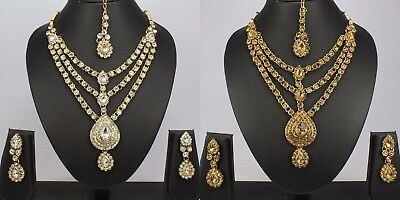 Indian Fashion jewellery new women kundan Necklace Earring tikka set ethnic
