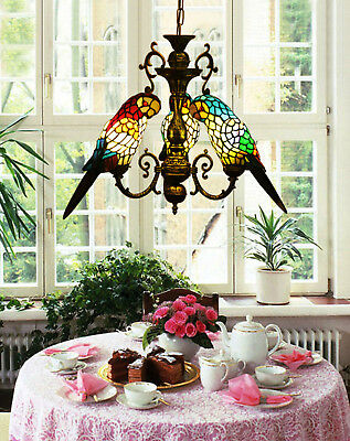 Makernier Vintage Tiffany Style Stained Glass 3 Arms Parrots Chandelier