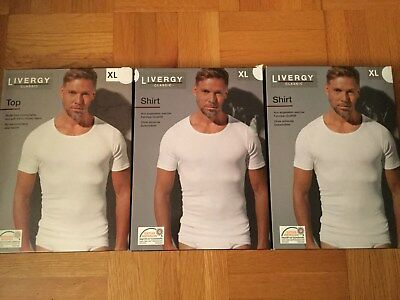 Livergy Classic Lot of 3 Undershirt Top 100% Cotton Wide Neck  XL White