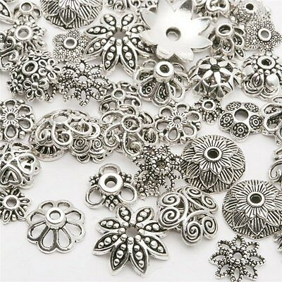 50g/bag Vintage Silver Gold Flower Bead Caps Spacer Beads DIY Jewellery Making