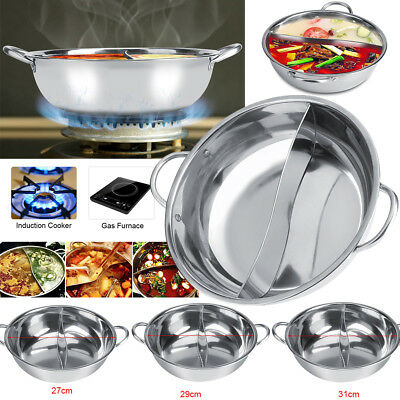 27/29/31cm Stainles Steel Hot Pot Induction Shabu Cooker Cookware Chinese Fondue
