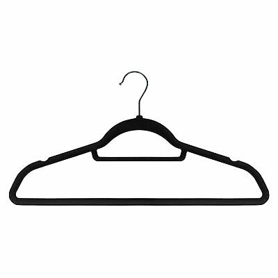 50 x Adult Non-Slip Hangers Flocked Velvet Clothes Coat with Trouser Bar - Black