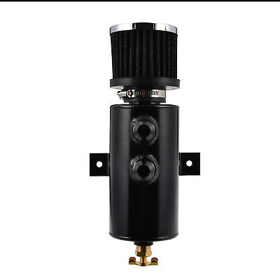Alloy 750ml Baffled Oil Catch Can Tube Tank -10AN One Side Air Filter Black