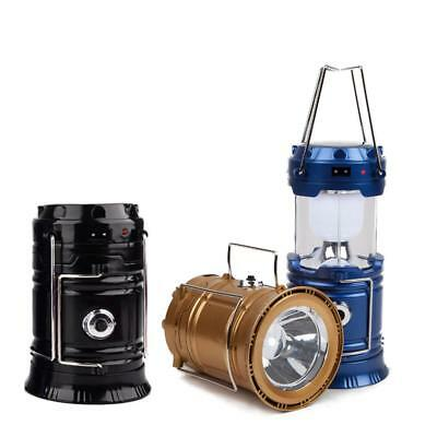 Solar USB Charging Rechargeable Outdoor Camping Tent Lantern Light 6 LED Lamp WT
