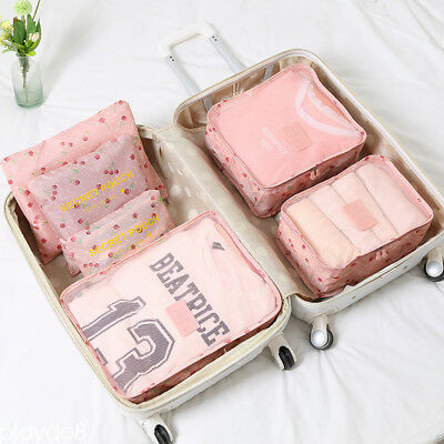6pcs Travel Bags Waterproof Storage Luggage Organizer Pouch Packing Cubes Cherry
