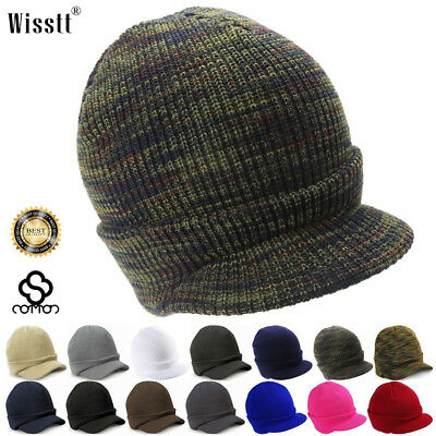 Esco Peaked Warm Army Beanie Hat Wool Winter Mens Womens Cadet Ski Result Cap UK