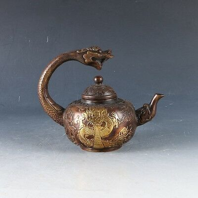 Old Chinese Copper Hand Made Dragon Teapot With Qianlong Mark ZJ106