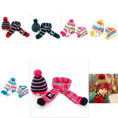 Winter Warm Knitted Striped Hat Scarf Set For Kids