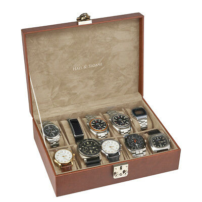 Mens Gents Vintage Brown Wooden 10 Slot Watch Display Wooden Case Storage Box