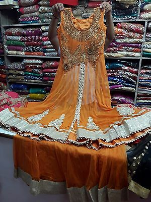 Ethnic Women Net Lehnga Choli Long Top Party wear suit with Free Shipping India