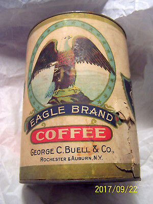 Antique Eagle Brand Coffee Tin George C Buell Rochester And Auburn Ny 1900S Rare