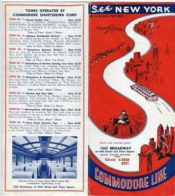 1930's Commodore Bus Lines Brochure of New York City Tours