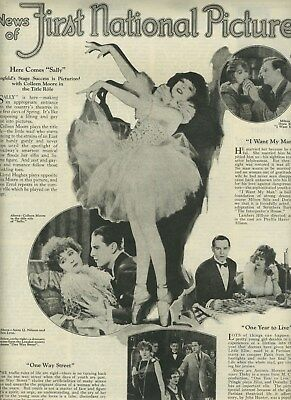 1925 News of  First National Pictures Magazine Ad Coleen Moore in Sally