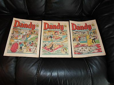 DANDY COMIC , X 3, AUGUST 1971, ISSUE No.s 1551, 1552 & 1553, USED.
