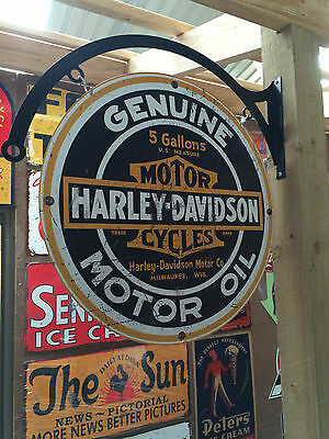 Harley Davidson Tin Metal Sign With Hanger Dbl Sided  Bar Man Cave Hot Rod