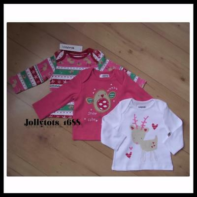 LADYBIRD Girls Christmas Clothes 3-6 Months 3x Sleeved Tops Set Multi White Pink