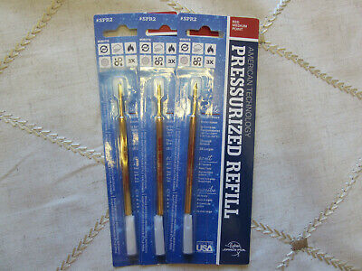 3 THREE red REFILLS - Fisher Space Pen- medium  point SPR2 on blister card
