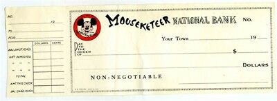 Mouseketeer National Bank Check  Mickey Mouse Club 1950's